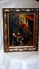 """ANTIQUE 1924 GERMAN OIL ON CANVAS  """"TESTING OF WINE"""" IN ORNATE GILT WOOD FRAME"""