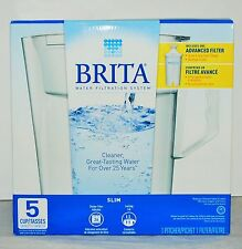 New listing Brita Water Filtration System Slim 5 Cup with One Advanced Filter