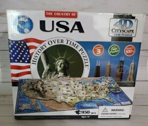 """NEW The Country Of USA History Over Time Puzzle 4D Cityscape 950+ Pieces 24""""x16"""""""