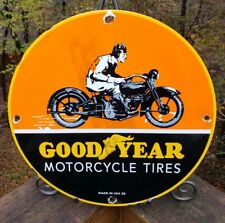 """VINTAGE GOODYEAR MOTORCYCLE TIRES PORCELAIN SIGN """"MADE USA 36"""" HARLEY INDIAN"""