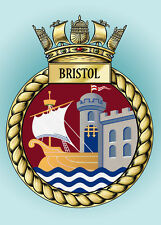 HMS BRISTOL CREST ON A METAL SIGN 5 x 7 INCHES FITS STANDARD PHOTO FRAME.