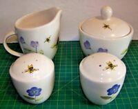 Pfaltzgraff Hostess Set Perennials Petals Lidded Sugar Bowl Creamer Salt Pepper
