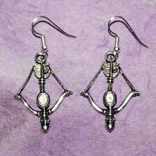 Medieval CrossBow Earrings, Silver Drop, Dangle Bow and Arrow Hunting Theme