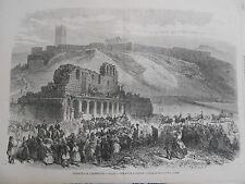 Gravure 1869 -  L'impératrice à Athènes visite de l'acropole