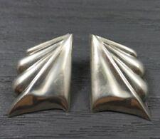 Vintage Sterling Silver Pointed Teardrop Post Earrings