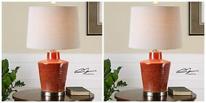 PAIR CORNELL  AGED BRICK FRENCH RED TEXTURED CERAMIC GUN METAL TABLE LAMPS