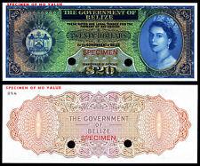 BELIZE 20 DOLLARS (P37sct) SPECIMEN COLOUR TRIAL QEII UNC