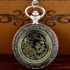 Silver Quartz Pendant Necklace Chain Retro Dragon Pattern Pocket Watch Vintage