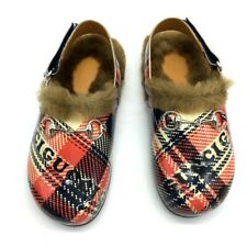UNUSED GUCCI 526151 Checkered Horsebit Loafers slip-on Sandals Shoes Slippers