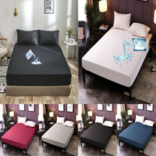 Solid Bed Fitted Sheet Waterproof Mattress Pad Protector Twin Full Queen King