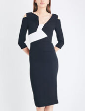KIVERTON Wool Crepe Dress Black & White by Roland Mouret UK 8 / US 4