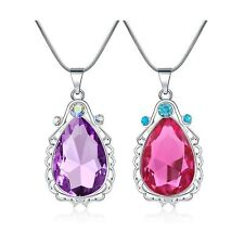 2 Pcs Sofia The First Amulet and Elena Princess Necklace Twin Sister Teardrop...
