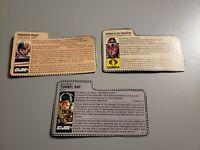 Vintage GI Joe File Card lot of 3 Tunnel Rat ACE and Crimson Guard Hasbro ARAH