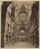 France, Rouen, la Cathédrale Vintage Albumen Print Tirage albuminé  21x27