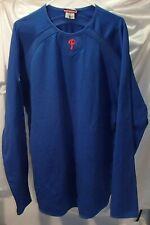 Philadelphia Phillies Majestic Blue ThermaBase Pullover Baseball Shirt Mens XL