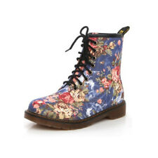 Women Floral Print Lace-Up Martin Shoes Ankle Boots Low Heel Antiskid Fashion