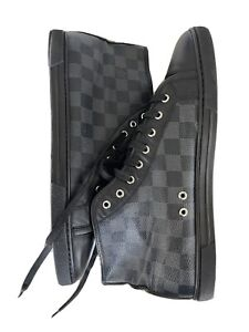 Authentic Mens Louis Vuitton Damier Black Graphite High Top Sneakers In Box ~ S6