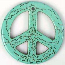 33mm Blue Turquoise Peace Sign Filigree Pendant