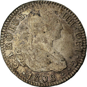 [#873636] Coin, Spain, Charles IV, 2 Reales, 1808, Seville, VF(30-35), Silver