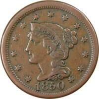 1850 1c Braided Hair Large Cent Penny US Coin VF Very Fine