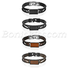 Men Retro Braided Multi-layer Leather Strap Buckle Wood Tag Bracelet Bangle Cuff