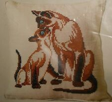 Siamese Cats Stamped Linen Cross Stitch Pillow Kit Columbia Minerva 6734 Vintage