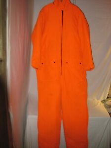Insulated Blaze Orange Deer Hunting Coveralls Men's XL Lined