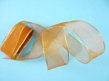 Schleifenband Zuschnitt 5 Meter Geschenkband mit Draht und Goldrand (m/0,40€)