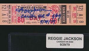 REGGIE JACKSON SIGNED 369 HR FULL TICKET 9/29/79 COA JSA  (DSD2)