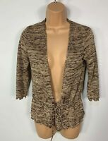 WOMENS WALLIS BROWN MIX 3/4 SLEEVE FRONT TIE CASUAL CARDIGAN JUMPER SIZE UK 10