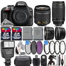 Nikon D3300 24.2MP DSLR Camera + 18-55mm VR Lens + Nikon 70-300mm - 64GB Kit