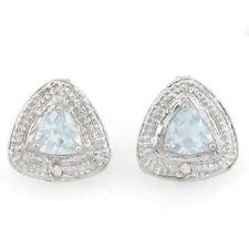 Ohrringe/Ohrstecker Sansibar, 925er Silber, 0,65 Kt. echter Aquamarin/Diamant