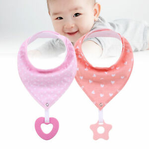 Baby Bib with Teether Cotton Soft Practical Kids Soother Teething Toys for Home