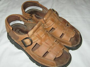 Men Size 9 Earth Shoe Floater Leather Upper Lug Sole Brown Fisherman Sandal VGC