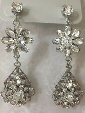 Charming Charlie RSVP Bridal Rhinestone Dangle Earrings Silver Tear Drop Flower