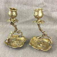 Antique Brass Candlesticks Victorian Aesthetic Movement  Pair Candle Holders
