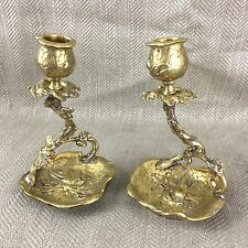 Rare Pair of Antique Victorian Brass Candlesticks Aesthetic Movement Candlestick