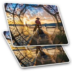 2 x Rectangle Stickers 7.5 cm - Inle Lake Myanmar Burma Asia Cool Gift #3385