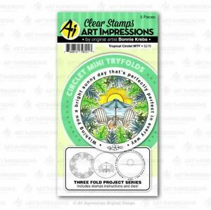 Art Impressions Stamp & Die ~ MINI TRYFOLDS ~ TROPICAL CIRCLET - 3D -5176