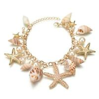 Ocean Multi Starfish Sea Star Conch Shell Pearl Chain Beach Bracelet Trendy 6L
