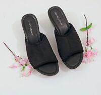 Donald Pliner Black Elastic Platform Wedge Sandals US 8M