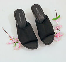 Donald Pliner Black Elastic Platform Wedge Sandals US 8M