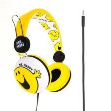 Auriculares amarillos de audio portátil con conexión Cable