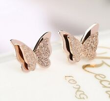 18K GP Rose Gold Titanium Stainless Steel Butterfly Stud Earrings Gift Box NP