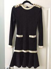 Vintage Miss O by Oscar de la Renta grey gray white trim sweater dress 4 CHANEL