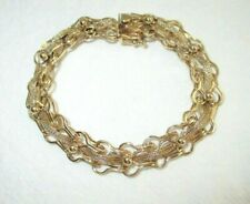 14K Solid Yellow Gold Link/Rope/Ball Bracelet Vintage Heavy 15.4 Grams