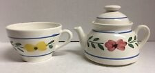 Beautiful Stackable Single Serving Tea Cup and Pot Hand Painted Made in Italy