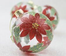 GISELA GRAHAM CHRISTMAS CLEAR GLASS BAUBLE WITH RED POINSETTIA BALL X 3