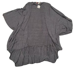 Free People Beach Womens Size M/ Large Boho Over Sized Hi Low Long Pancho Gray