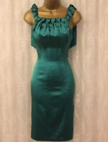 Karen Millen Teal Satin Fold Cocktail Pencil Fitted Party Evening Dress UK 6 34